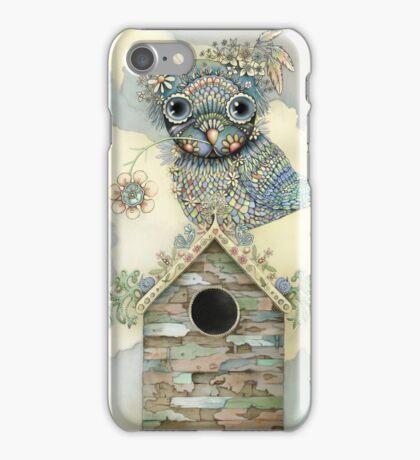 Blue Owl Birdhouse II iPhone Case/Skin