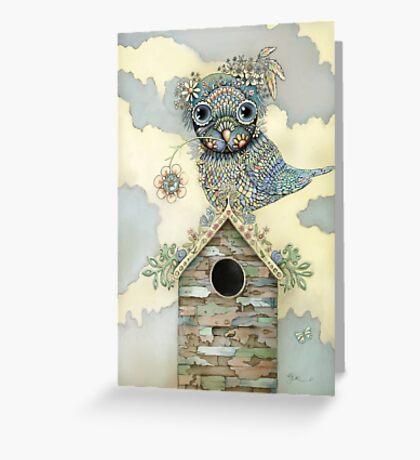 Blue Owl Birdhouse II Greeting Card
