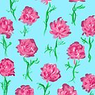 Peony Scatter on Aqua by inkandstardust