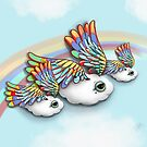 Happy Little Flying Clouds Blue by Karin Taylor