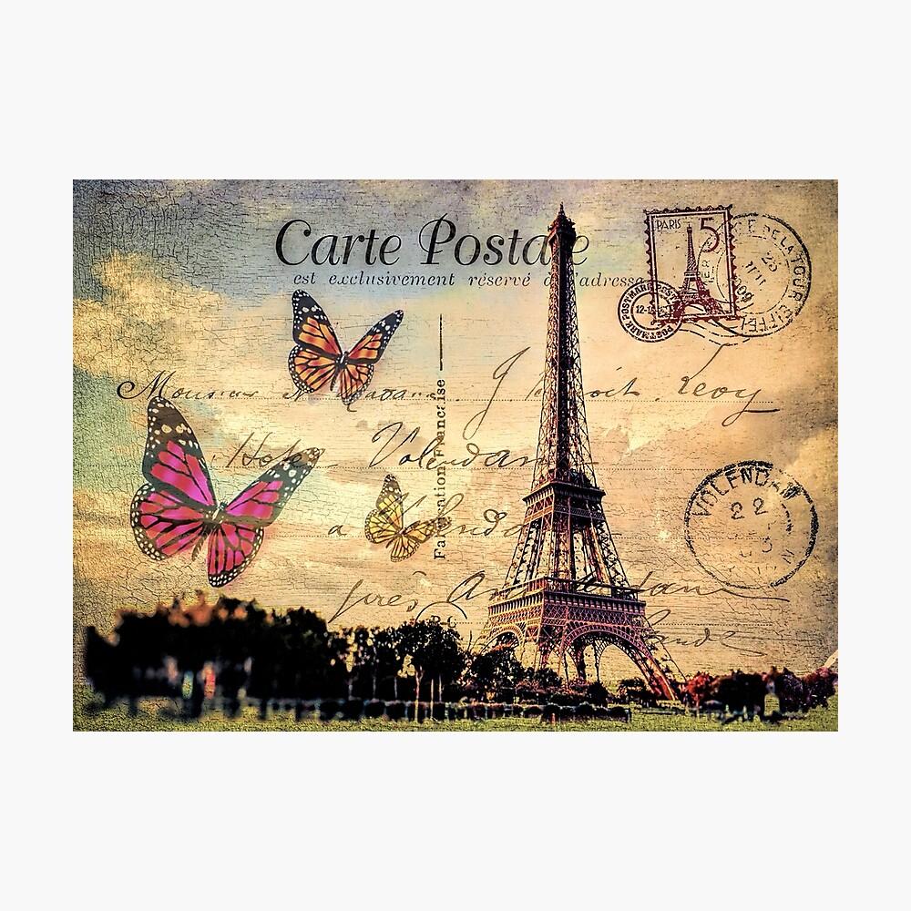 Carte Postale Francaise.Vintage Paris Carte Postale Photographic Print By