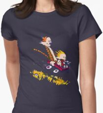 calvin and hobbes race Womens Fitted T-Shirt
