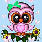 Cute Pink Owl and Butterflies by LoneAngel