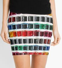 Multicolor fun watercolor paint artist pallet Mini Skirt