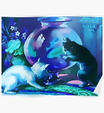Kittens with Goldfishes Poster