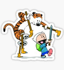 calvin and hobbes play Sticker