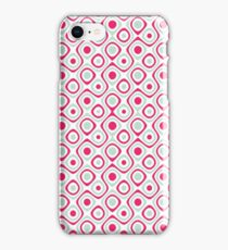 Pink teal retro abstract pattern iPhone Case/Skin