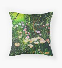 Spring Tulip Flowers in Cottage Garden Throw Pillow