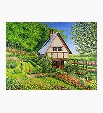 Spring Flowers in a English Cottage Garden  Photographic Print