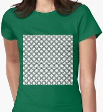 Modern Black White Retro Scallop Pattern  Womens Fitted T-Shirt