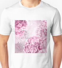 Pink and Purple Pastel Flower Hydrangea Spring Collage Pattern T-Shirt