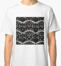 Elegant French Girly Floral Black Lace Classic T-Shirt