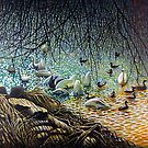 Swan, Ducks and Signets on the River by Simon Mark Knott * Simbird *
