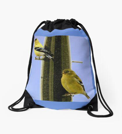 Goldfinch At the Feeder Drawstring Bag