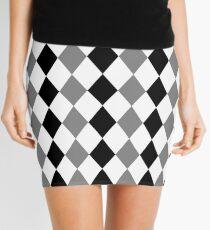 Grey, black, white, rhombus pattern, geometric theme design Mini Skirt