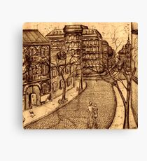 Old Odessa city black and white pen ink drawing Canvas Print