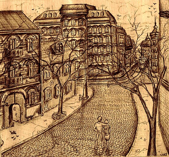 Old Odessa city black and white pen ink drawing by Vitaliy Gonikman