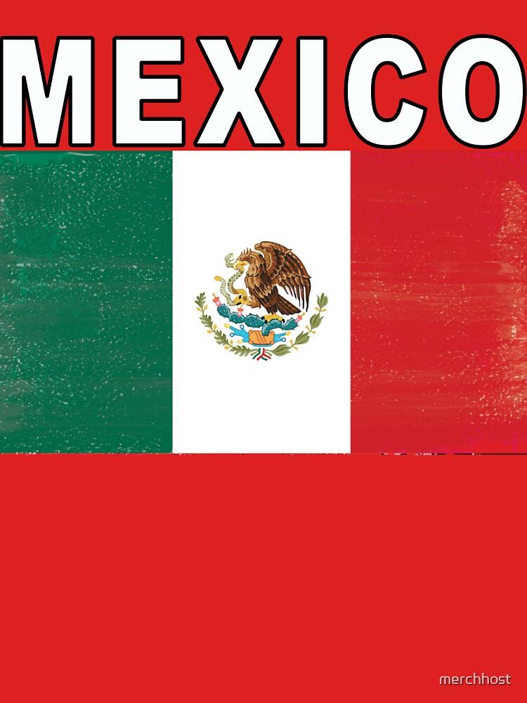 Mexico Distressed Flag Retro Soccer Tee by merchhost