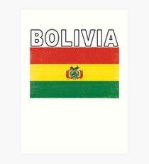 Bolivia Distressed Flag Retro Soccer Design Art Print