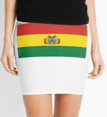 Bolivia Distressed Flag Retro Soccer Design Mini Skirt