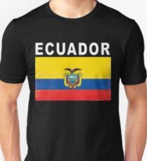 Ecuador Distressed Flag Retro Soccer Design Unisex T-Shirt