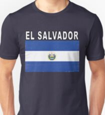 El Salvador Distressed Flag Game Team Design Unisex T-Shirt