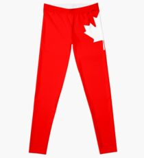 MAPLE LEAF, CANADA, CANADIAN, WHITE, Pure & Simple, Canadian Flag, National Flag of Canada, 'A Mari Usque Ad Mare', White on Red Leggings