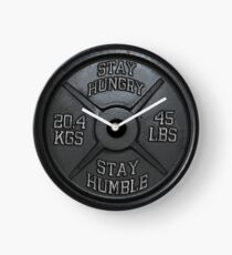Stay Hungry, Stay Humble - Barbell Plate Clock