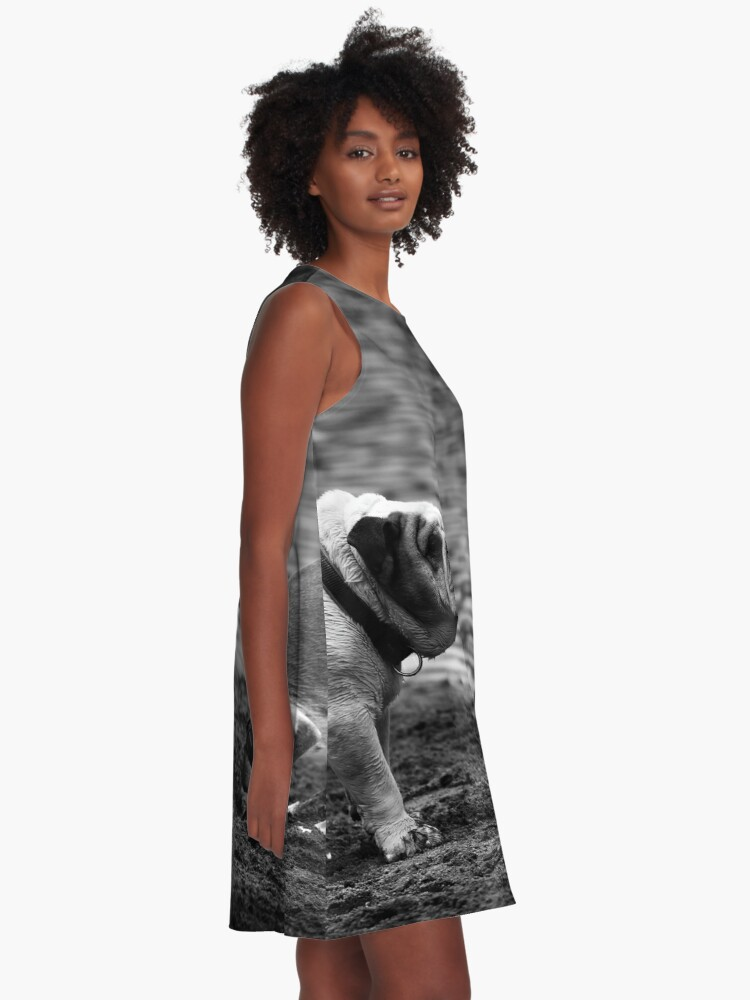 Alternate view of English Bulldog, black and white A-Line Dress