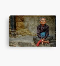 An Old Woman in Bhaktapur Canvas Print