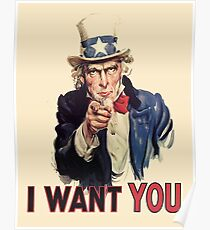 UNCLE SAM, Americana, America, I Want You! Uncle Sam Wants You. Recruitment Poster, USA, Poster