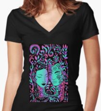 beautiful girl face and guy on a background of leaves, psychedelic bright neon colors on a black background Women's Fitted V-Neck T-Shirt