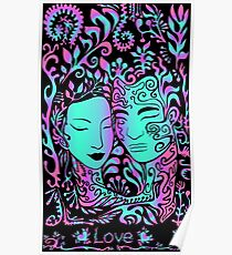 beautiful girl face and guy on a background of leaves, psychedelic bright neon colors on a black background Poster