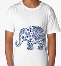 Blue Floral Elephant Illustration Long T-Shirt