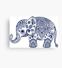 Blue Floral Elephant Illustration Canvas Print
