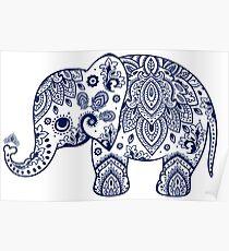 Blue Floral Elephant Illustration Poster