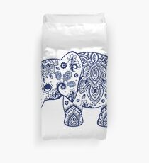 Blaue Blumenelefant-Illustration Bettbezug
