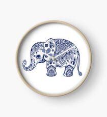 Blue Floral Elephant Illustration Clock