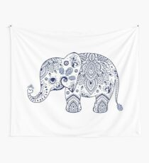 Blue Floral Elephant Illustration Wall Tapestry