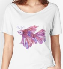 watercolor fish fight siamese Women's Relaxed Fit T-Shirt
