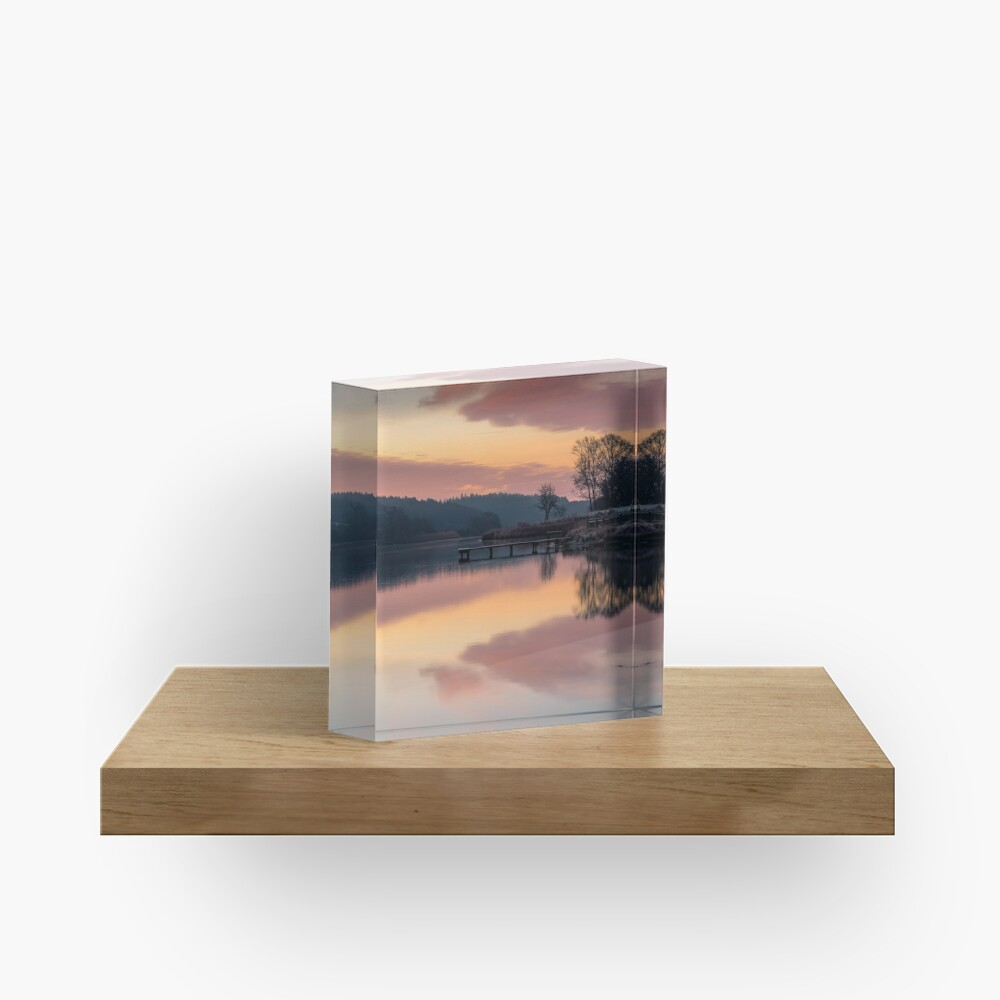 Dawn At The Old Millpond Acrylic Block