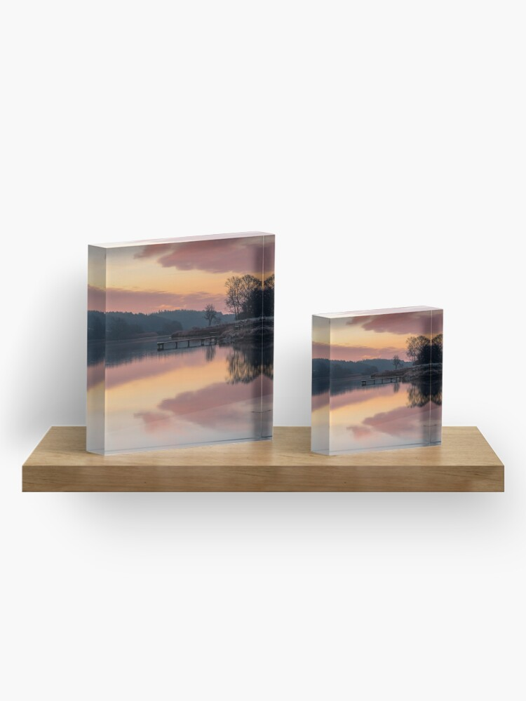 Alternate view of Dawn At The Old Millpond Acrylic Block