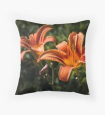 Orange Yellow Fire Lily Throw Pillow