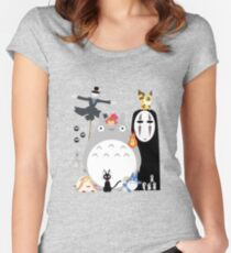 Studio Ghibli Gang Women's Fitted Scoop T-Shirt
