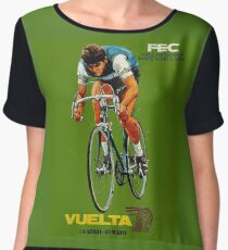 VUELTA SPAIN: Vintage Bike Racing Advertising Print Chiffon Top