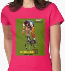 VUELTA SPAIN: Vintage Bike Racing Advertising Print Womens Fitted T-Shirt