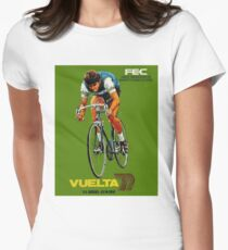 VUELTA SPAIN: Vintage Bike Racing Advertising Print Womens Fitted T-Shirt