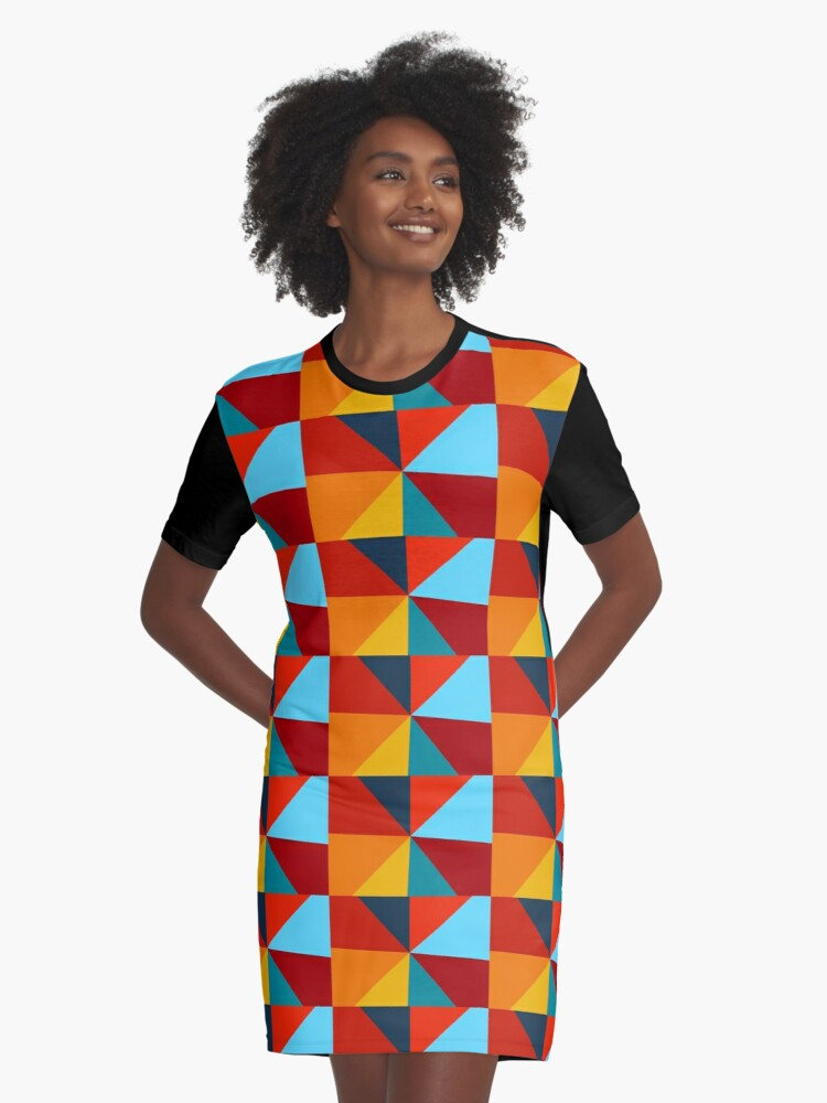 Colorful Geometric Retro Pattern Graphic T-Shirt Dress Front
