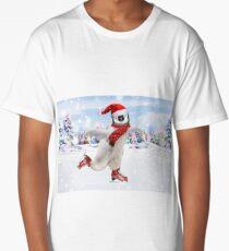 Cute Penguin chick ice skating at Christmas Long T-Shirt