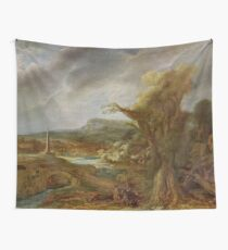 Stolen Art - Landscape with an Obelisk by Govert Flinck Wall Tapestry